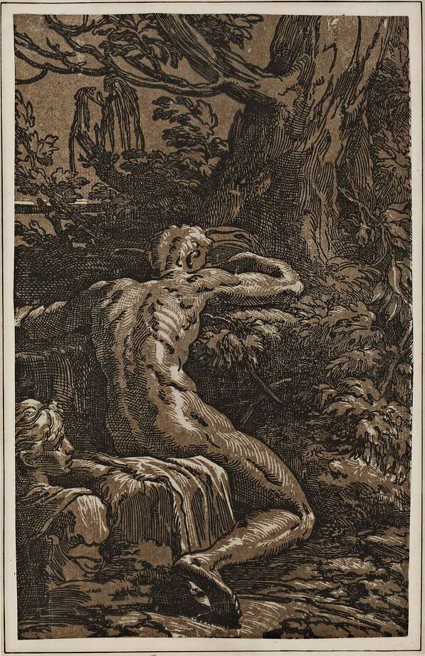"""Narcissus"" (c. 1529), Antonio da Trento (Italy, c. 1510-c. 1550) after Parmigianino (Italy, 1503-40). Photo: Cantor Arts Center, Stanford University"