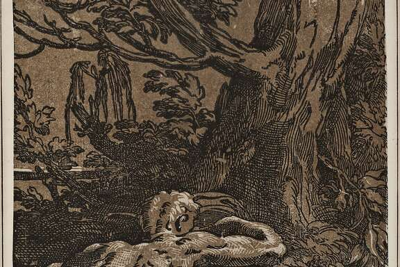 "Antonio da Trento (Italy, c. 1510–c. 1550) after Parmigianino (Italy, 1503–40), ""Narcissus"" (c. 1529)  Antonio da Trento (Italy, c. 1510–c. 1550) after Parmigianino (Italy, 1503–40), Narcissus, c. 1529. Chiaroscuro woodcut. Lent by Kirk Edward Long"