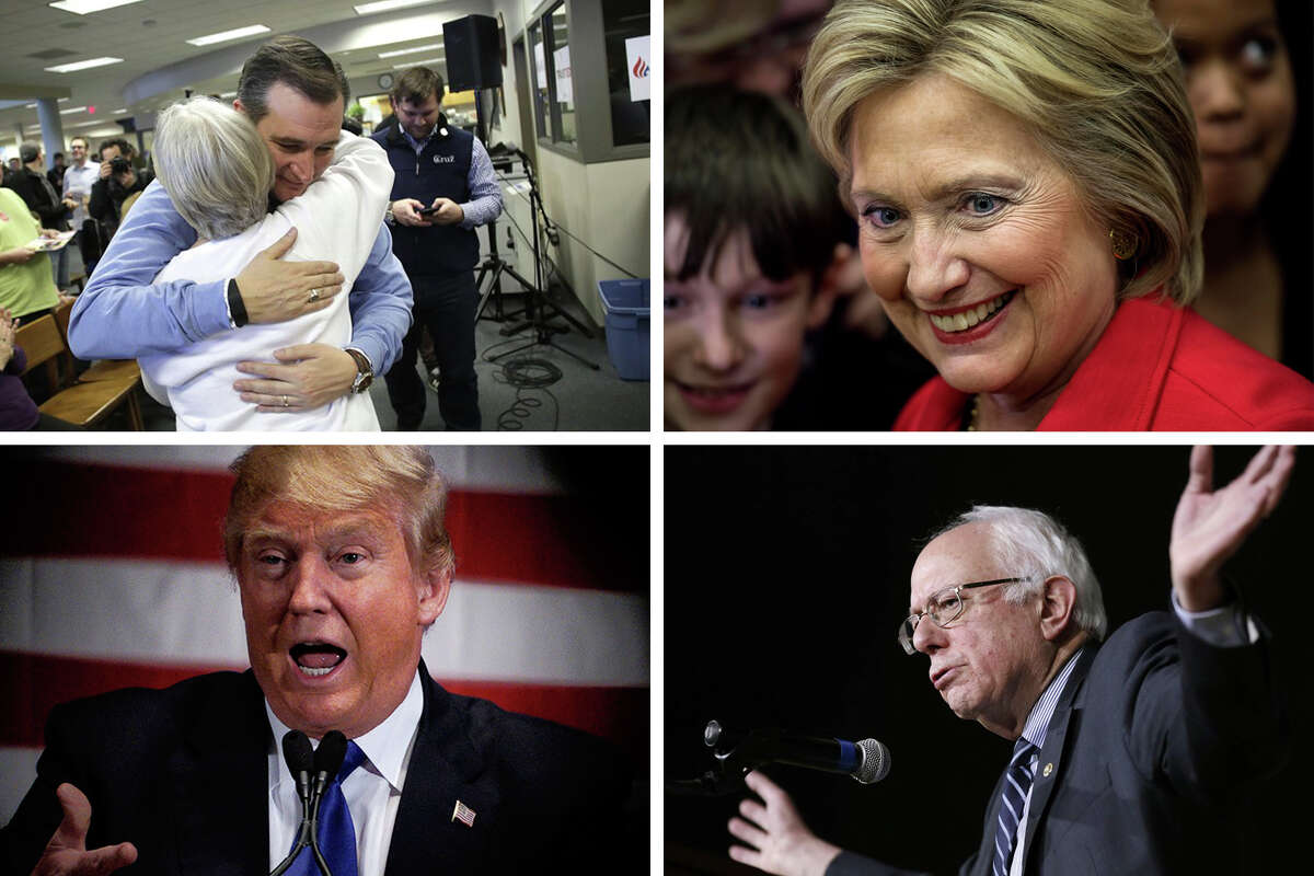 The anger and disgust with American politics and governance is likely driving the insurgent choices this year, as some voters lean toward politicians - Donald Trump and Bernie Sanders in particular - who speak the language of insurgency. Ted Cruz, top left, and Hillary Clinton, top right, do not fit into this category as neatly as do Trump, bottom left, and Sanders, bottom right.