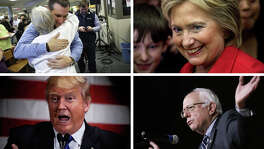 The anger and disgust with American politics and governance is likely driving the insurgent choices this year, as some voters lean toward politicians — Donald Trump and Bernie Sanders in particular — who speak the language of insurgency. Ted Cruz, top left, and Hillary Clinton, top right, do not fit into this category as neatly as do Trump, bottom left, and Sanders, bottom right.