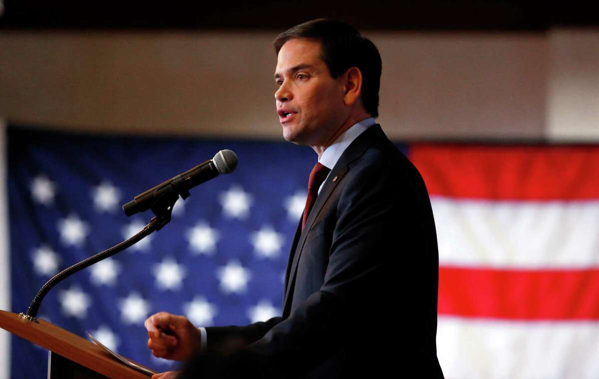 Republican presidential candidate Sen. Marco Rubio, R-Fla., speaks at a caucus night celebration on Monday after a strong third place finish in the Iowa Caucus.
