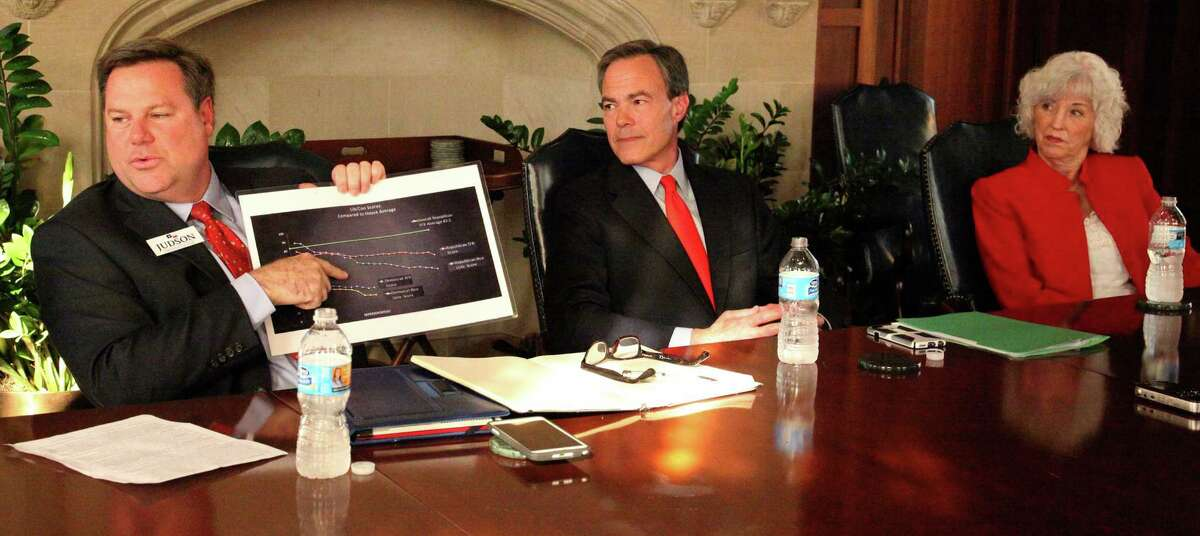 Jeff Judson, left, shows a chart that indicates theconservative ratings for people Texas House Speaker Joe Straus, center, has appointed as committee chairmen. The two, along with former school teacher Sheila Bean, at a recent tonio Express-News editorial board meeting. All three are runing for the District 121 seat held by Straus. A reader comments on the heated campaign between Judson and the speaker.