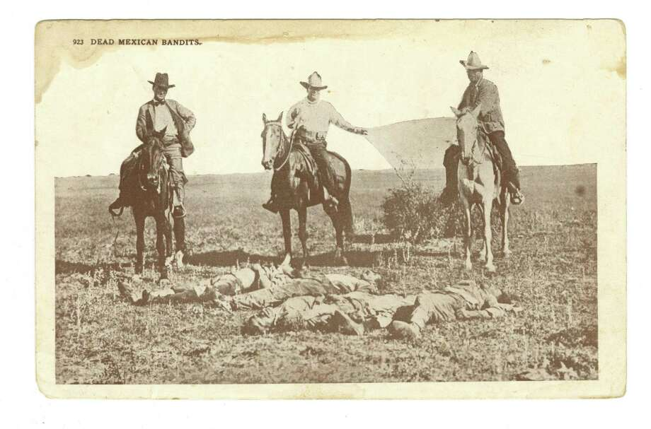 A 1915 postcard, 'Dead Mexican bandits' shows three Texas Rangers on horseback posed behind the bodies of four Tejanos killed apparently at random in retaliation of an earlier raid. Photo: Courtesy Bullock Texas State History Museum