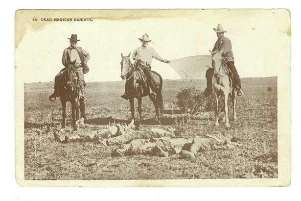 A 1915 postcard, 'Dead Mexican bandits' shows three Texas Rangers on horseback posed behind the bodies of four Tejanos killed apparently at random in retaliation of an earlier raid.