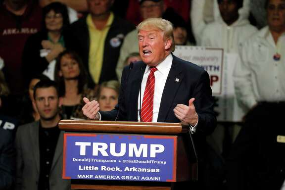 Republican presidential candidate Donald Trump speaks during a campaign rally in Little Rock, Arkansas, last week. A reader says Trump has little respect for the intelligence of the voters.