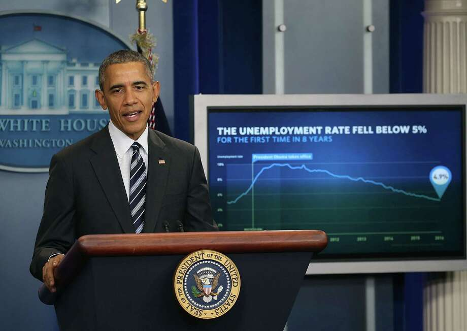 President Barack Obama discusses the latest unemployment rate Friday. The Labor Department announced 151,000 jobs were added by U.S. employers in January, lowering the unemployment rate to 4.9 percent. Photo: Mark Wilson /Getty Images / 2016 Getty Images