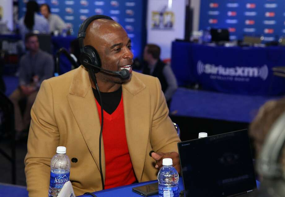 Deion Sanders, speaking at the Moscone Center, calls Eddie DeBartolo his favorite owner. Photo: Cindy Ord, Getty Images For Sirius