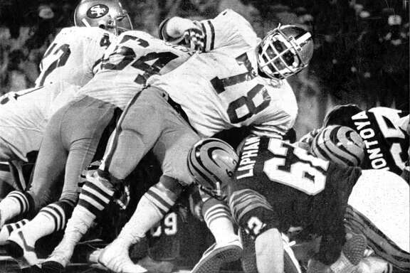 San Francisco 49ers hold on a goal line stand in the third quarter against the Cincinnati Bengals in Super Bowl XVI on Jan. 24, 1982, in Pontiac, Mich.
