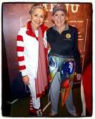 """SF Symphony President and proud Stanford alum Sako Fisher models """"tailgate chic"""" with Protocol Chief Charlotte Shultz, and SB50 Host Committee member, at the symphony's """"Concert of Champions."""" Jan 2016."""