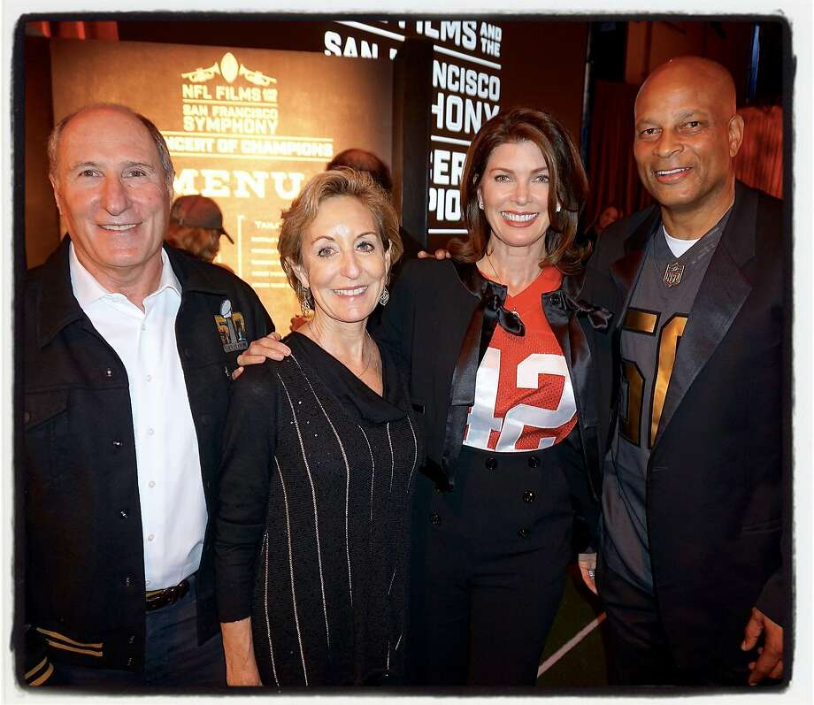 """Former SF Symphony President John Goldman and his wife, Marcia (at left) co-chaired the symphony's """"Concert of Champions"""" dinner with Karen Lott and gridiron great Ronnie Lott. Jan 2016. Photo: Catherine Bigelow, Special To The Chronicle"""