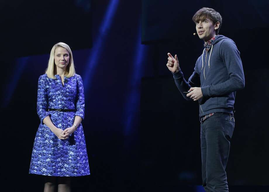Yahoo president and CEO Marissa Mayer and Tumblr CEO David Karp appear at the 2014 Consumer Electronics Show in Las Vegas. Photo: Julie Jacobson, AP