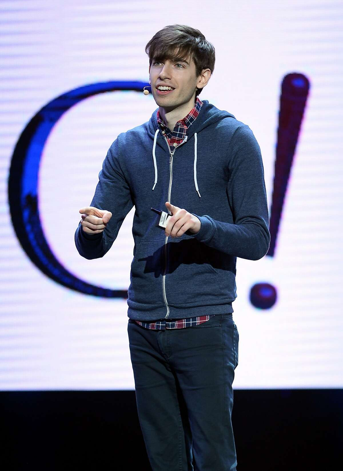 LAS VEGAS, NV - JANUARY 07: Tumblr CEO David Karp speaks during a keynote address by Yahoo! President and CEO Marissa Mayer at the 2014 International CES at The Las Vegas Hotel & Casino on January 7, 2014 in Las Vegas, Nevada. CES, the world's largest annual consumer technology trade show, runs through January 10 and is expected to feature 3,200 exhibitors showing off their latest products and services to about 150,000 attendees. (Photo by Ethan Miller/Getty Images)