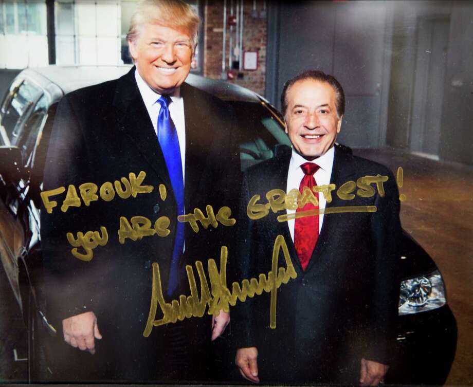 Here is an autographed photograph of Farouk Shami and Donald Trump. Shami, a Palestinian-American, pulled out sponsoring Trump's Miss Universe Pageants and Celebrity Apprentice after Trump's racist comments. Friday, Feb. 5, 2016, in Houston. ( Photo provided ) Photo: Photo Provided, Staff / © 2016 Houston Chronicle