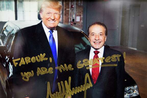Autograph photograph of Farouk Shami and Donald Trump. Shami, a Palestinian-American, pulled out sponsoring Trump's Miss Universe Pageants and Celebrity Apprentice after Trump's racist comments. Friday, Feb. 5, 2016, in Houston. ( Photo provided )