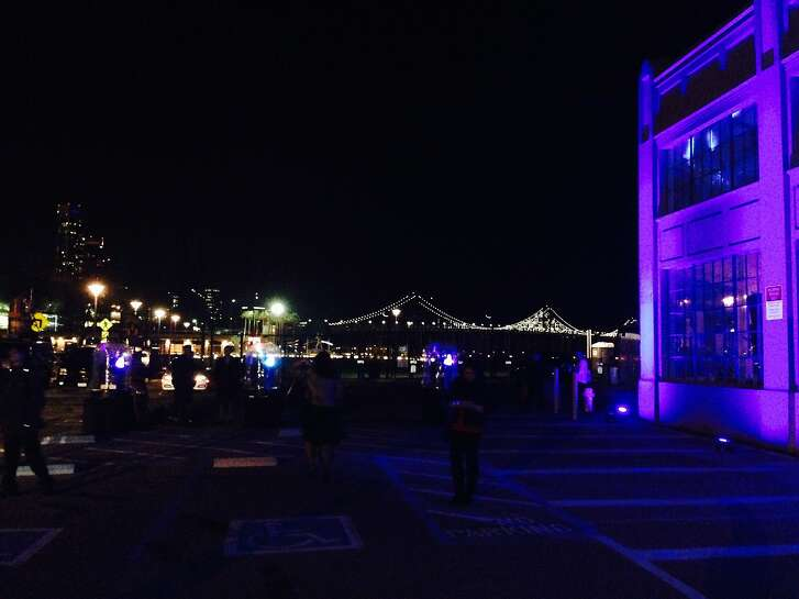 The view from CBS's Super Bowl party featured the lights of the Bay Bridge