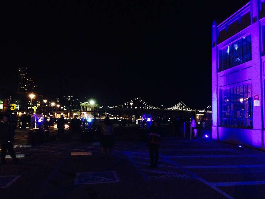 The view from CBS's Super Bowl party featured the lights of the Bay Bridge Photo: Tony Bravo, Tony Bravo / The Chronicle
