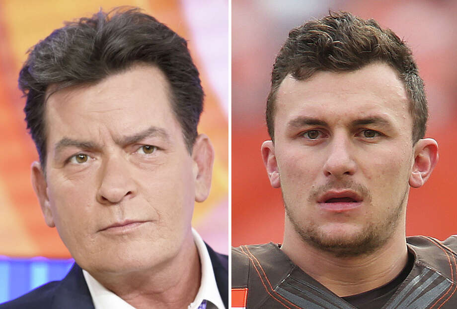 Actor Charlie Sheen (left), no stranger to personal demons, reached out to embattled Cleveland Browns quarterback Johnny Manziel on Twitter on Saturday. Click through the gallery to relive Manziel's highs and lows in football.
