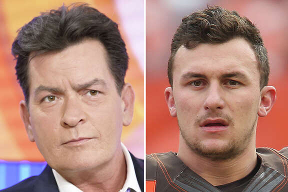 Actor Charlie Sheen (left), no stranger to personal demons, reached out to embattled Cleveland Browns quarterback Johnny Manziel on Twitter on Saturday.