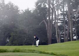 Ernie Els hits his second shot on the first hole during the final round of the 112th U.S. Open at The Olympic Club on Sunday June 17, 2012 in Daly City, California.