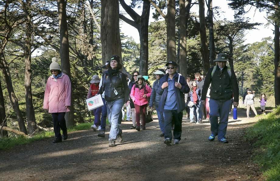 Lisa McHenry, (left center) leads a guided walking tour up Strawberry Hill that goes around Stow Lake in Golden Gate Park, in San Francisco, Calif., on Sat. February 6, 2016. Photo: Michael Macor, The Chronicle