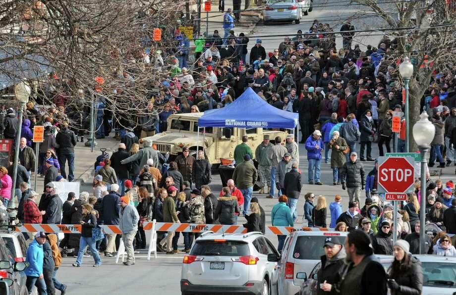 A teeming Phila Street during the 18th Annual Chowderfest on Saturday Feb. 6, 2016 in Saratoga Springs, N.Y.  (Michael P. Farrell/Times Union) Photo: Michael P. Farrell / 10035026A