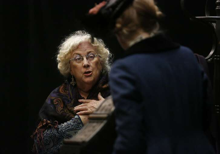 Anne Buelteman as Mrs. Mellins, left, talks with Amy Prosser as Ann Eliza during play rehearsal for The Bunner Sisters at the ACT Costume Shop Feb. 5, 2016 in San Francisco, Calif.