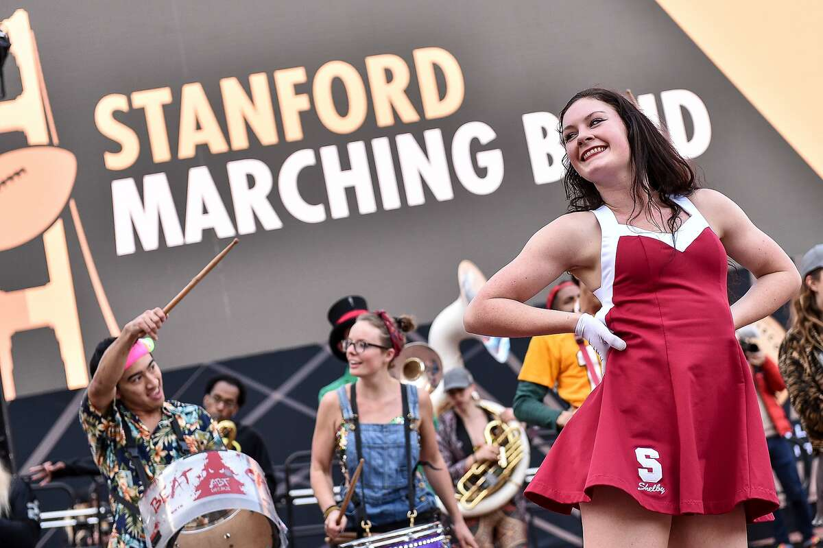 The Stanford University marching band performs at Super Bowl City on February 4, 2016 in San Francisco, California.