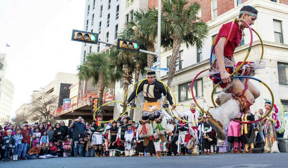 Members of The Sahawe Dancers of Uvalde, Texas,  dance before the Western Heritage Parade and Cattle Drive in downtown San Antonio on Saturday, Feb. 6, 2016.  For more than sixty years the Sahawe program has been an  combination of Scouting, lore, leadership development, and performance. 