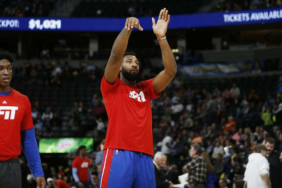 Detroit Pistons center Andre Drummond (0) in the first half of an NBA basketball game Saturday, Jan. 23, 2016, in Denver. (AP Photo/David Zalubowski)