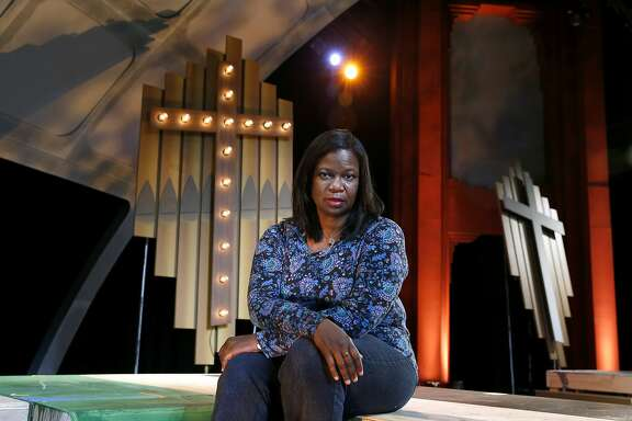 """Playwright Cheryl L. Davis visits the set of """"Bridges"""" before a dress rehearsal at the Berkeley Playhouse in Berkeley, Calif. on Saturday, Feb. 6, 2016. The world premiere of Davis' musical production previews on Feb. 11."""