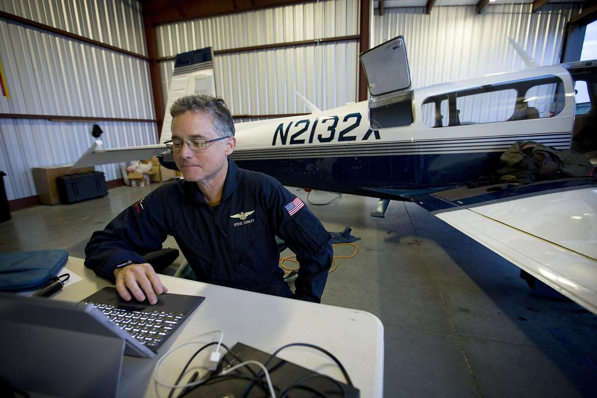 Pilot and UC Davis project scientist Stephen Conley looks over methane emissions data at Lincoln Regional Airport on Friday, Jan. 8, 2016. Conley, flying in a pollution-detecting airplane, provided the first estimates of methane emissions spewing from the Southern California leak. Joe Proudman / UC Davis..Pilot and UC Davis project scientist Stephen Conley looks over methane emissions data at Lincoln Regional Airport on Friday, Jan. 8, 2016. Conley, flying in a pollution-detecting airplane, provided the first estimates of methane emissions spewing from the Southern California leak.