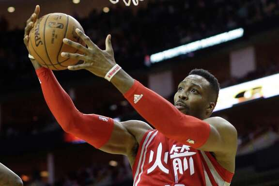 Houston Rockets' Dwight Howard goes to the basket against the Portland Trail Blazers in the second half of an NBA basketball game Saturday, Feb. 6, 2016, in Houston. Portland won 96-79. (AP Photo/Pat Sullivan)