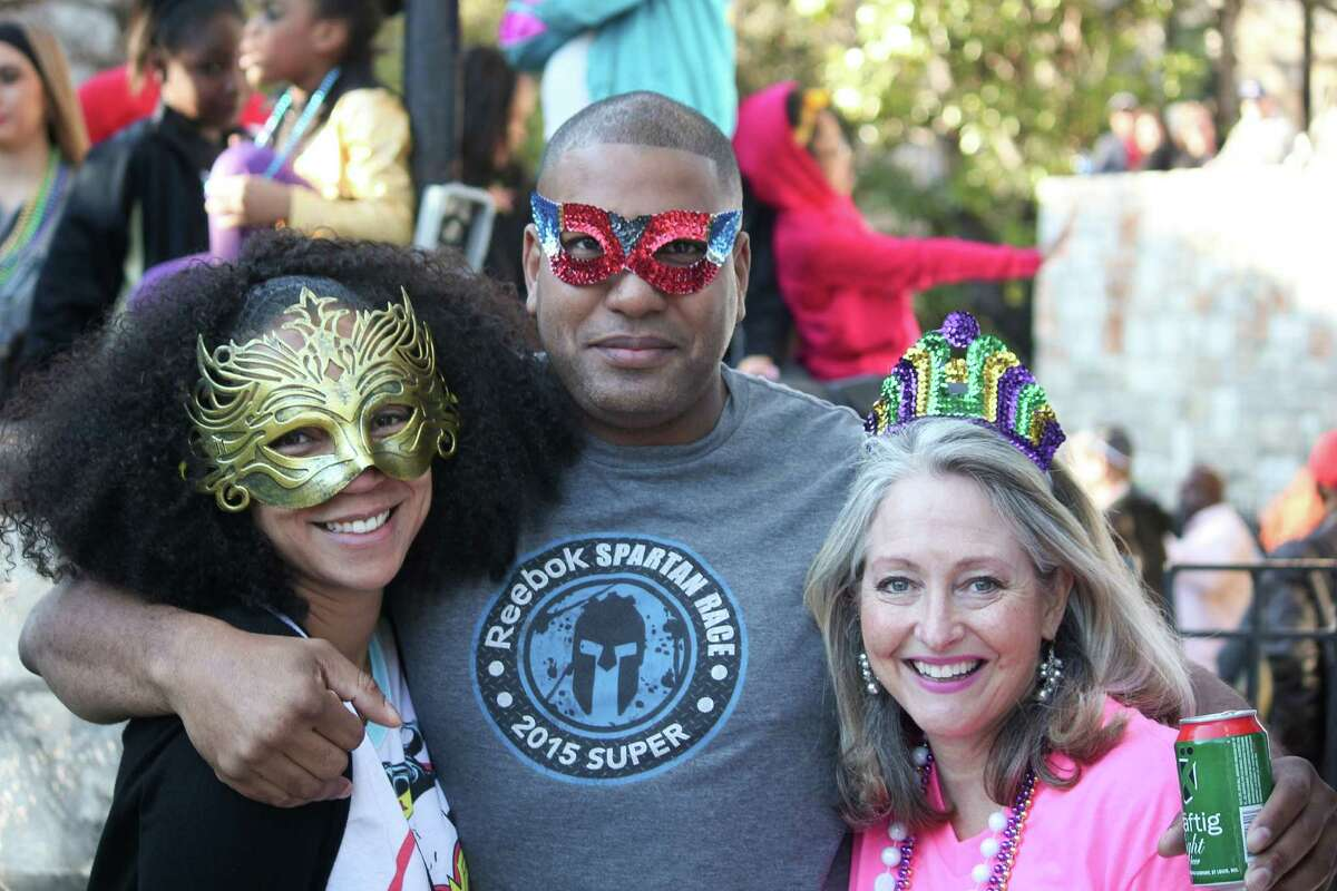 Always up for a party, San Antonio residents hit the River Walk for a little Mardi Gras fun Saturday afternoon.