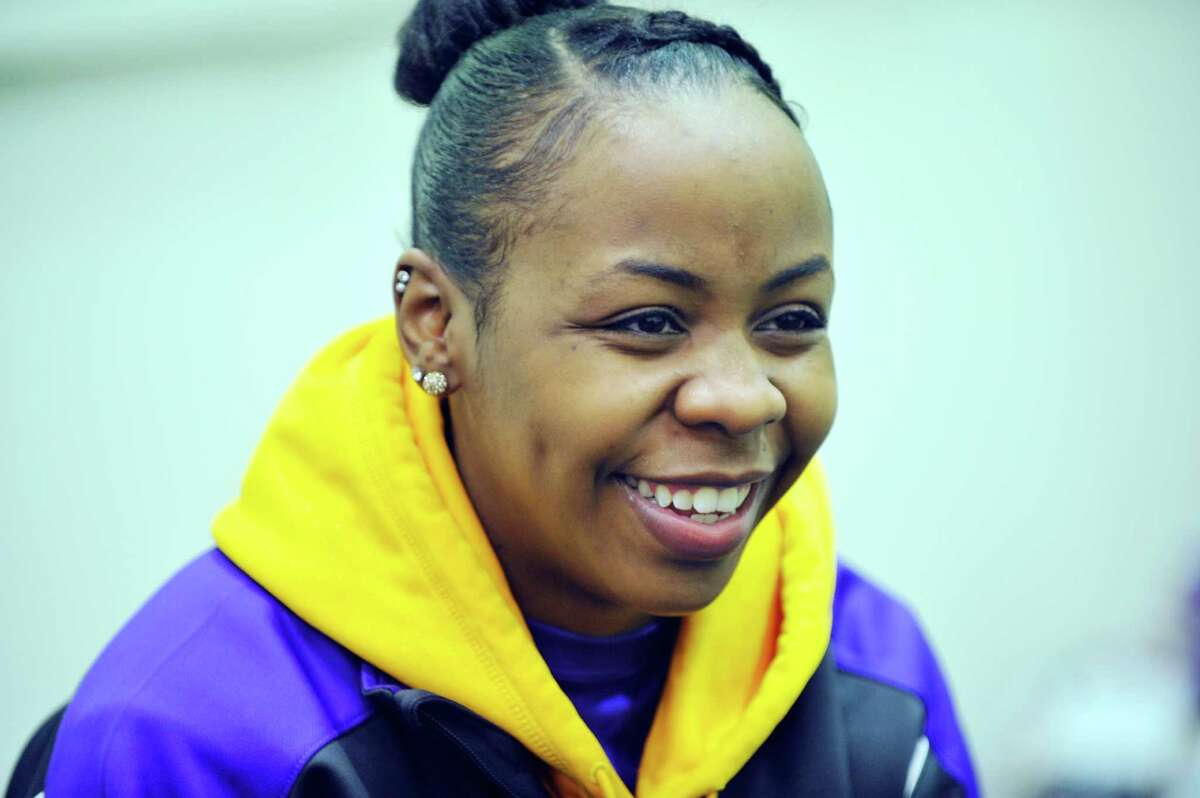 UAlbany basketball player Imani Tate talks about herself and her team during an interview on Monday, Feb. 1, 2016, in Albany, N.Y. (Paul Buckowski / Times Union)