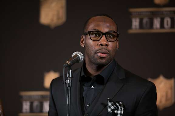 49ers wide receiver Anquan Boldin speaks to members of the media after being named the Walter Payton Man of the Year during the NFL Honors, Saturday, Feb. 6, 2016, at the Bill Graham Civic Auditorium in San Francisco, Calif.