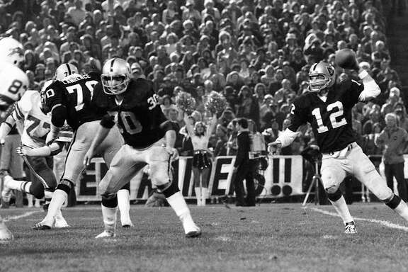 Brett Favre, left, and lefty Kenny Stabler are the first quarterback pair to be voted into the Pro Football Hall of Fame since Warren Moon and Troy Aikman in 2006.