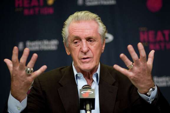 Heat team president Pat Riley talks to the media on April 20, 2015, in Miami.