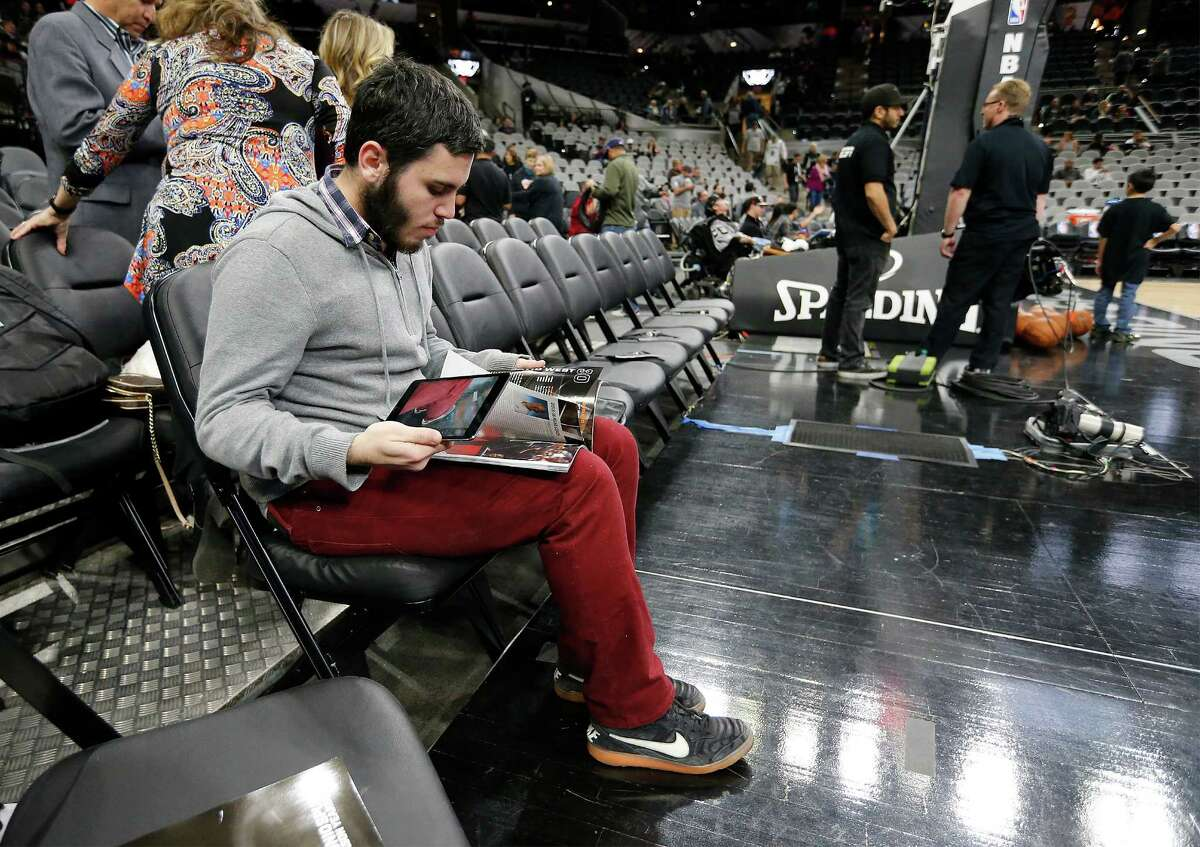 Argentine journalist Matías Baldo works for La Nacion reporting on Spurs games. He was working the game against the Houston Rockets at the AT&T Center on Jan. 27, 2016.