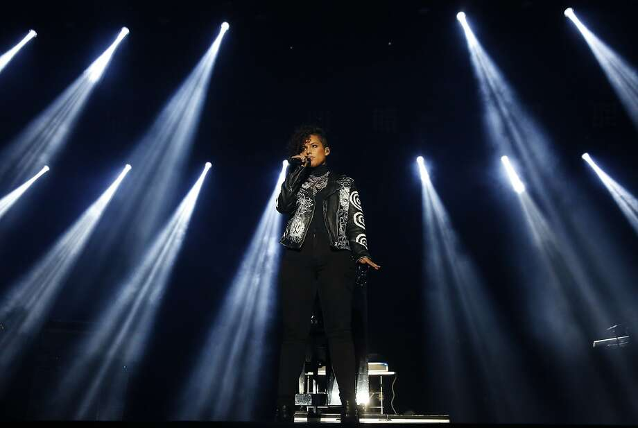 Alicia Keys greets the audience and acknowledges the family of Mario Woods and the Black Lives Matter movement before her performance at Super Bowl City Feb. 6, 2016 in San Francisco, Calif. Photo: Leah Millis, The Chronicle