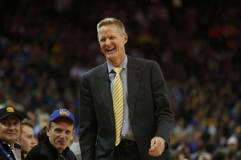 Golden State Warriors head coach Steve Kerr laughs on the sidelines during the third quarter of his basketball game against the Oklahoma City Thunder on Saturday, February 6, 2016 in Oakland, Calif. Photo: Beck Diefenbach, Special To The Chronicle