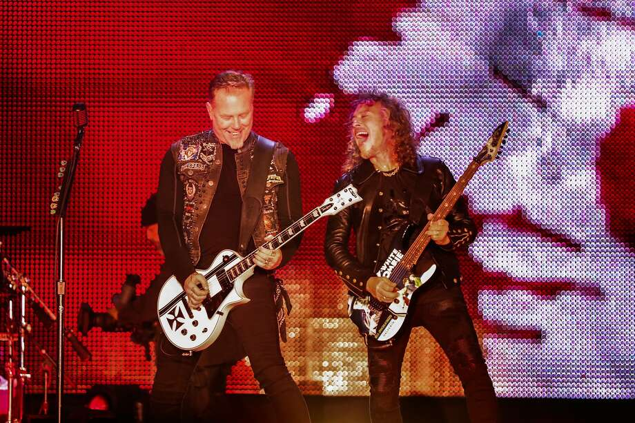 "James Hetfield and Kirk Hammett of Metallica perform on stage at the CBS RADIOÕs ""The Night Before"" concert at AT&T Park venue in San Francisco, California on Saturday, February 6, 2016. Photo: Gabrielle Lurie, Special To The Chronicle"