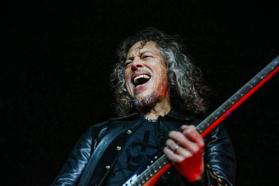 "Lead guitarist Kirk Hammett of Metallica performs on stage at the CBS RADIOÕs ""The Night Before"" concert at AT&T Park venue in San Francisco, California on Saturday, February 6, 2016. Photo: Gabrielle Lurie, Special To The Chronicle"