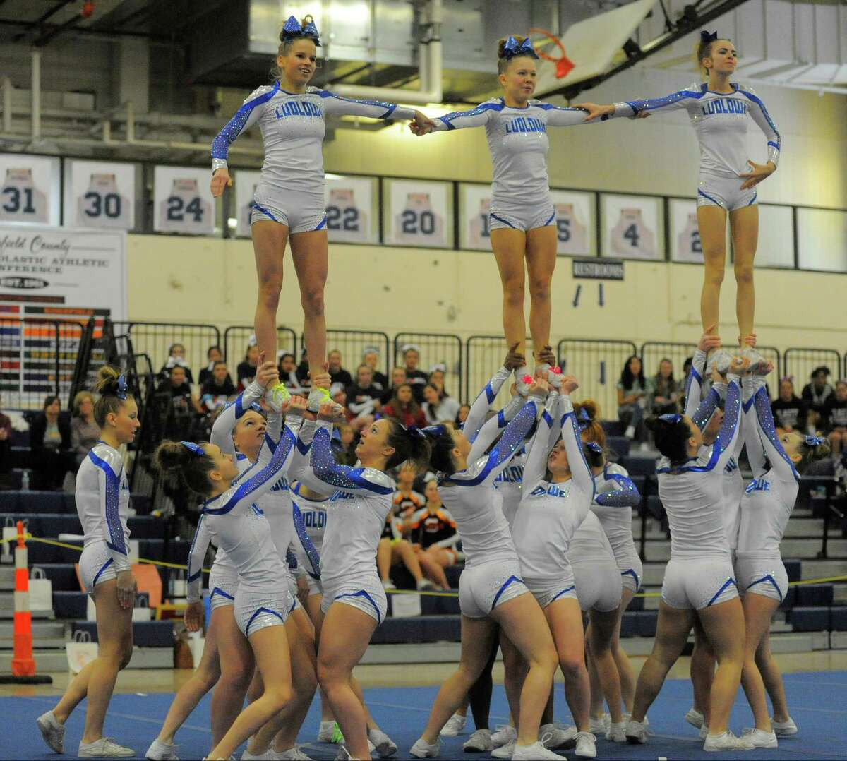 Fairfield Ludlowe cheerleaders were once again named as FCIAC champions in February, marking the team's third title. During the championship in Wilton, various squads were paired up to show support for each other. Read more.