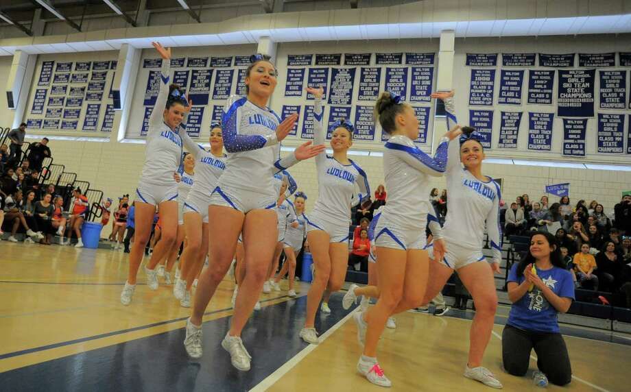 Ludlowe cheer compete during the FCIAC Cheerleading  Championship at the Wilton Field House in Wilton, Conn. on Feb. 6, 2016. Ludlowe was named Grand Champion. Photo: Matthew Brown / Hearst Connecticut Media / Stamford Advocate
