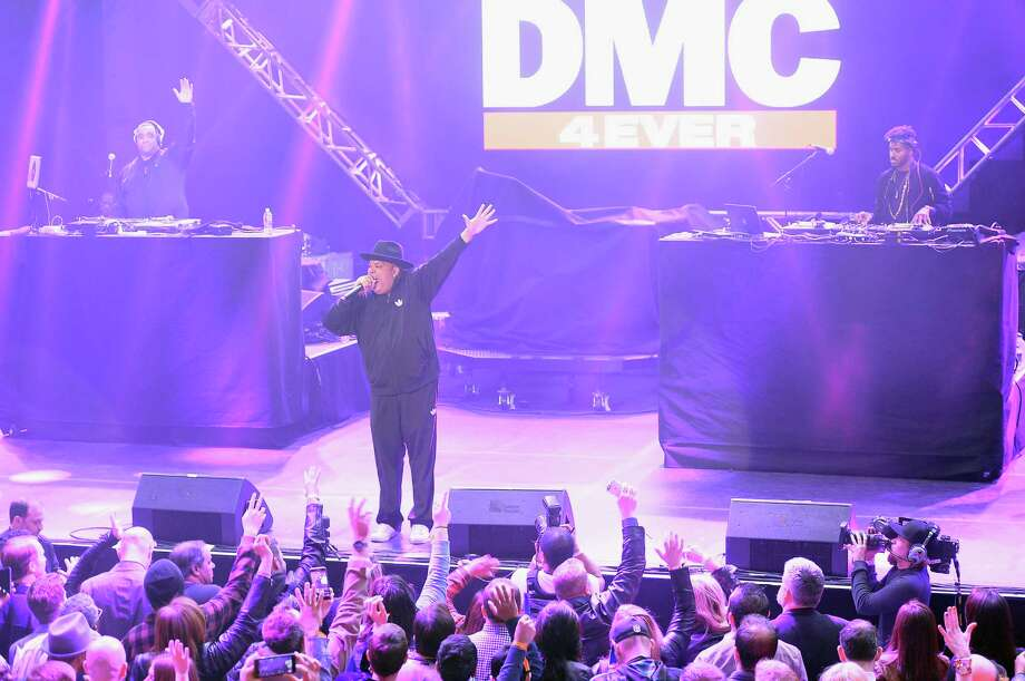 Recording artist Joseph Simmons (C) of RunD.M.C. performs onstage during the DirecTV and Pepsi Super Saturday Night featuring Red Hot Chili Peppers at Pier 70 on February 6, 2016 in San Francisco, California. Photo: Gustavo Caballero, Getty Images For DIRECTV / 2016 Getty Images