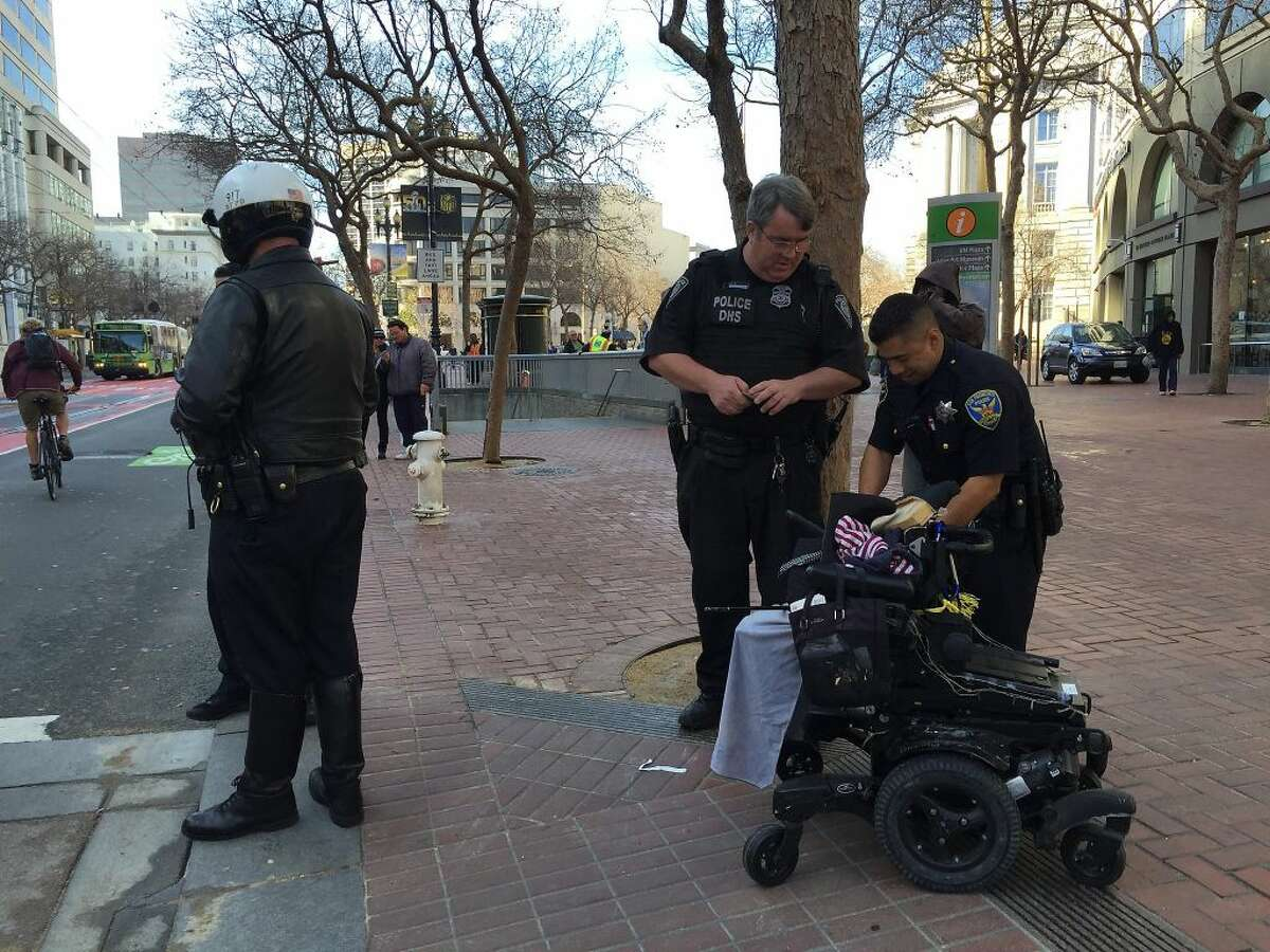 A woman in motorized wheelchair, who was struck by a car on Market Street at Seventh Street in San Francisco, died over the weekend.