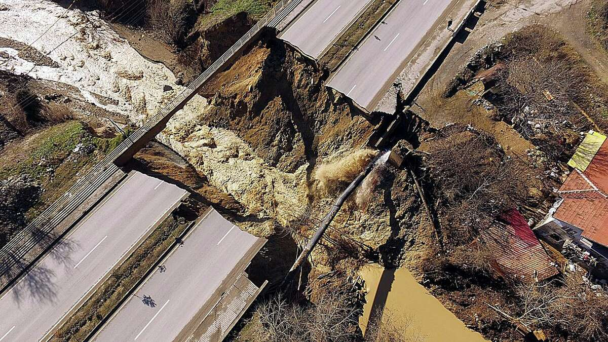 Wreckage of Bostanbuku bridge, which was collapsed after torrential rain caused flood waters in Karabuk, Turkey on February 2, 2016.