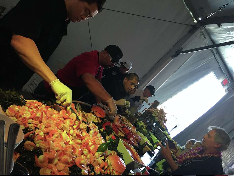 Welcome to the Guy Fieri tailgate! There's unlimited shrimp.  Photo: Katie Dowd, The Chronicle