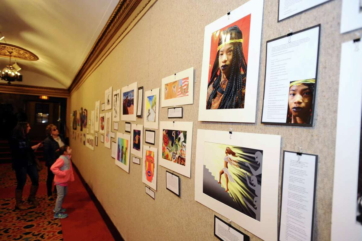 Stamford's public schools participated in Black History Month with a Community Art Reception on Sunday, Feb. 7, 2016 at the Palace Theater in downtown Stamford. Themes of the work include poetic justice and African American artists during the Harlem Renaissance.