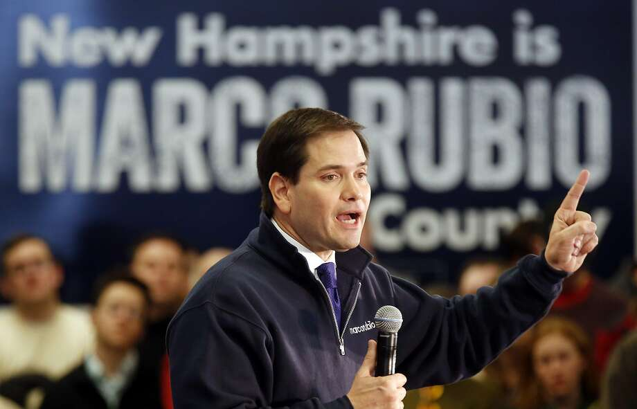 Republican presidential candidate Sen. Marco Rubio speaks to voters in a high school cafeteria in Londonderry, N.H. Photo: Jim Cole, Associated Press